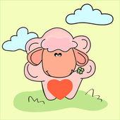 vektorové ilustrace ovcí se srdcem.