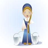 Ruská dívka s kbelíky. vektorové ilustrace.