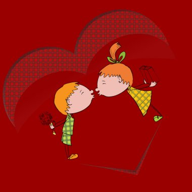 Two kids are kissing each other. Vector illustration. stock vector