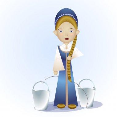 Russian girl with buckets. Vector illustration. stock vector