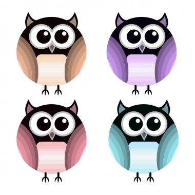 Vector set of different owls. stock vector