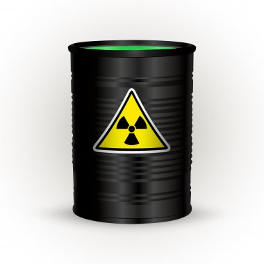 Vector illustration of black metal barrel with nuclear waste. stock vector
