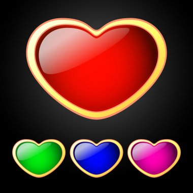 Vector set of colored hearts. stock vector