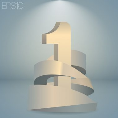 Vector illustration of a number one. stock vector