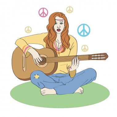 Hippie girl with guitar. stock vector
