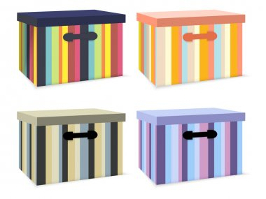 Vector set of colorful boxes. stock vector