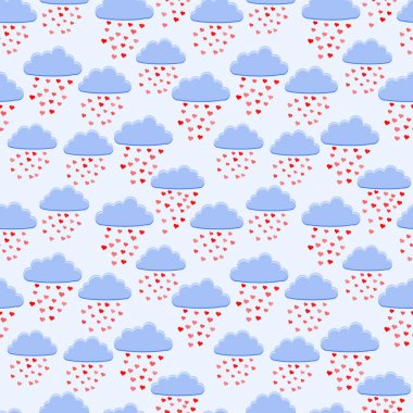 Vector background with rain of hearts. stock vector
