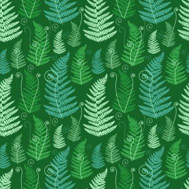 Green floral background with twirled grunge fern leafs. stock vector
