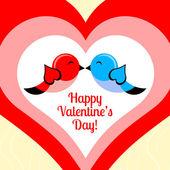 vektorové karta pro den svatého Valentýna s ptáky.