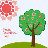 vektor illusztrációja egy szívvel rendelkező fa.