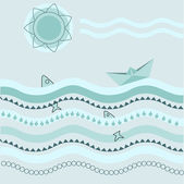 Vector background with paper boat.