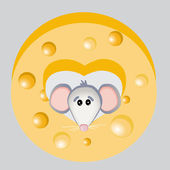 Vector illustration of mouse with cheese.