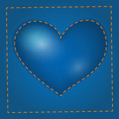 Vector blue heart with stitch.