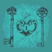 vektorové klíče k srdci.