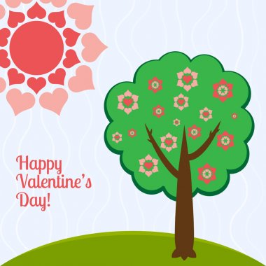 Vector illustration of a tree with hearts. stock vector