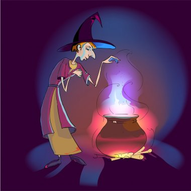 Witch with potion in the pot. Vector illustration. stock vector