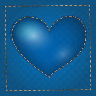 Vector blue heart with stitch. stock vector
