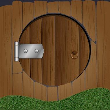 Wooden fence with round door. Vector illustration. stock vector