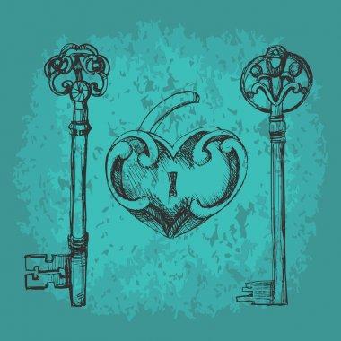Vector keys to heart. stock vector