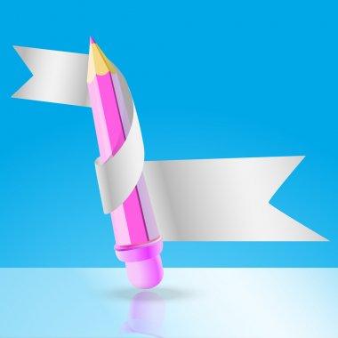 Vector pencil with ribbon. stock vector