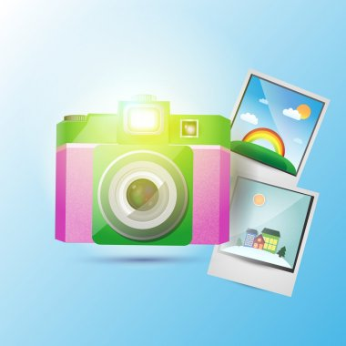 Vector photo camera with pictures. stock vector