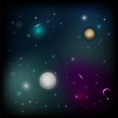 Vector space background with planet. stock vector