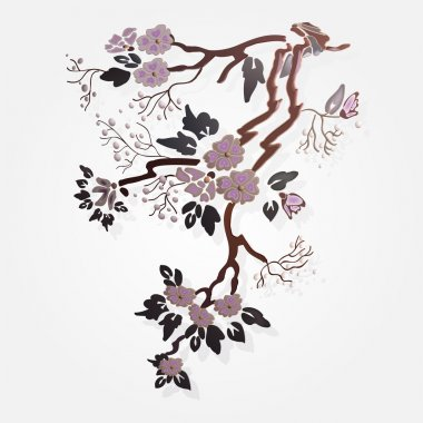 Vector sakura branch. Vector illustration. stock vector