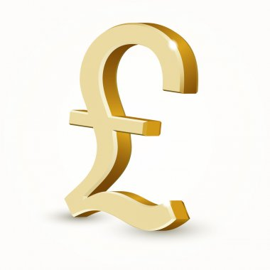 Vector golden UK pound sign isolated on white background. stock vector