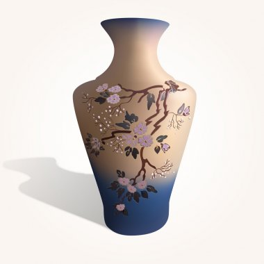 Vector illustration of a vase with sakura. stock vector