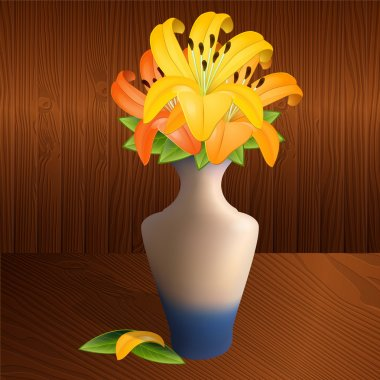 Vector illustration of a vase with lilies. stock vector