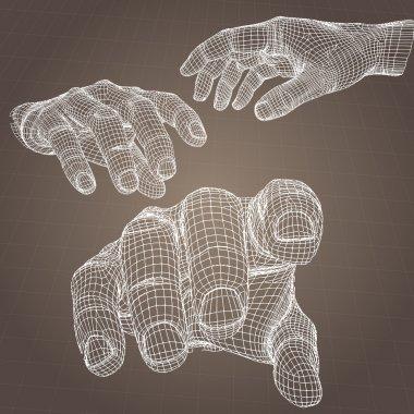 Vector model of hand. stock vector