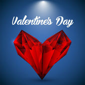 Vector red crystalline heart. Greeting card for Valentines day.