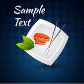Vector háttér sushi tál és pálcika.