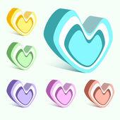vektor készlet színes szívek.