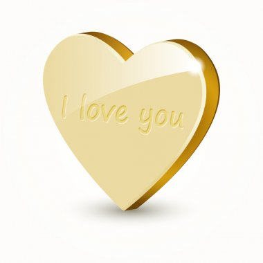 Vector golden heart isolated on white background. stock vector