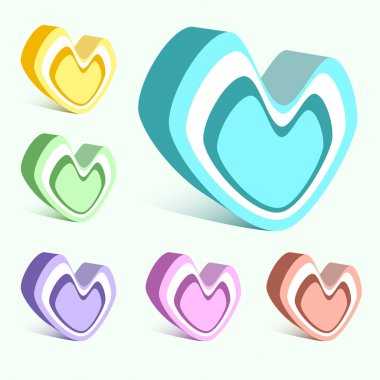 Vector set of colorful hearts. stock vector