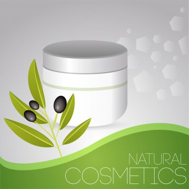 Cosmetic cream with olives. stock vector