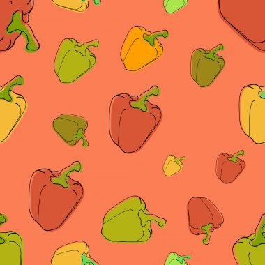 Vector background with peppers. stock vector
