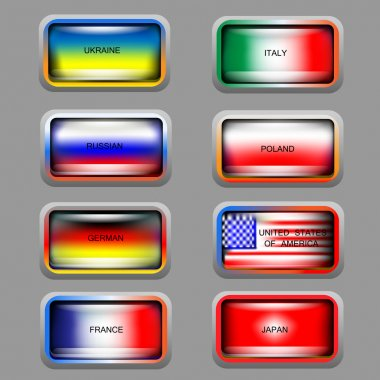 Vector set of icons with flags. stock vector