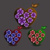 srdce s květinami. vektorové ilustrace.