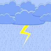 Rain with lightning. Vector illustration.
