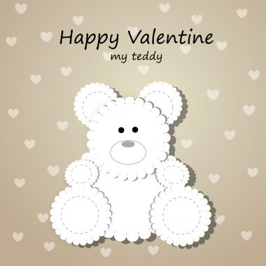 Vector greeting card for Valentine's day with teddy bear. stock vector
