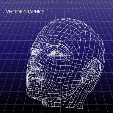 Vector model of face. stock vector
