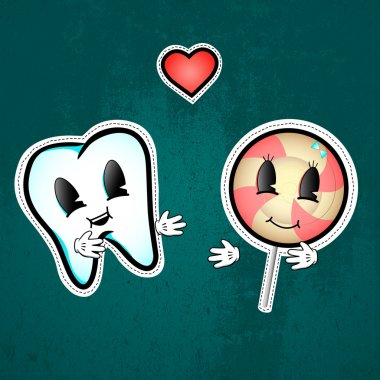 Love between tooth and lollipop. Vector illustration stock vector