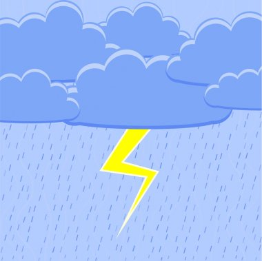 Rain with lightning. Vector illustration. stock vector