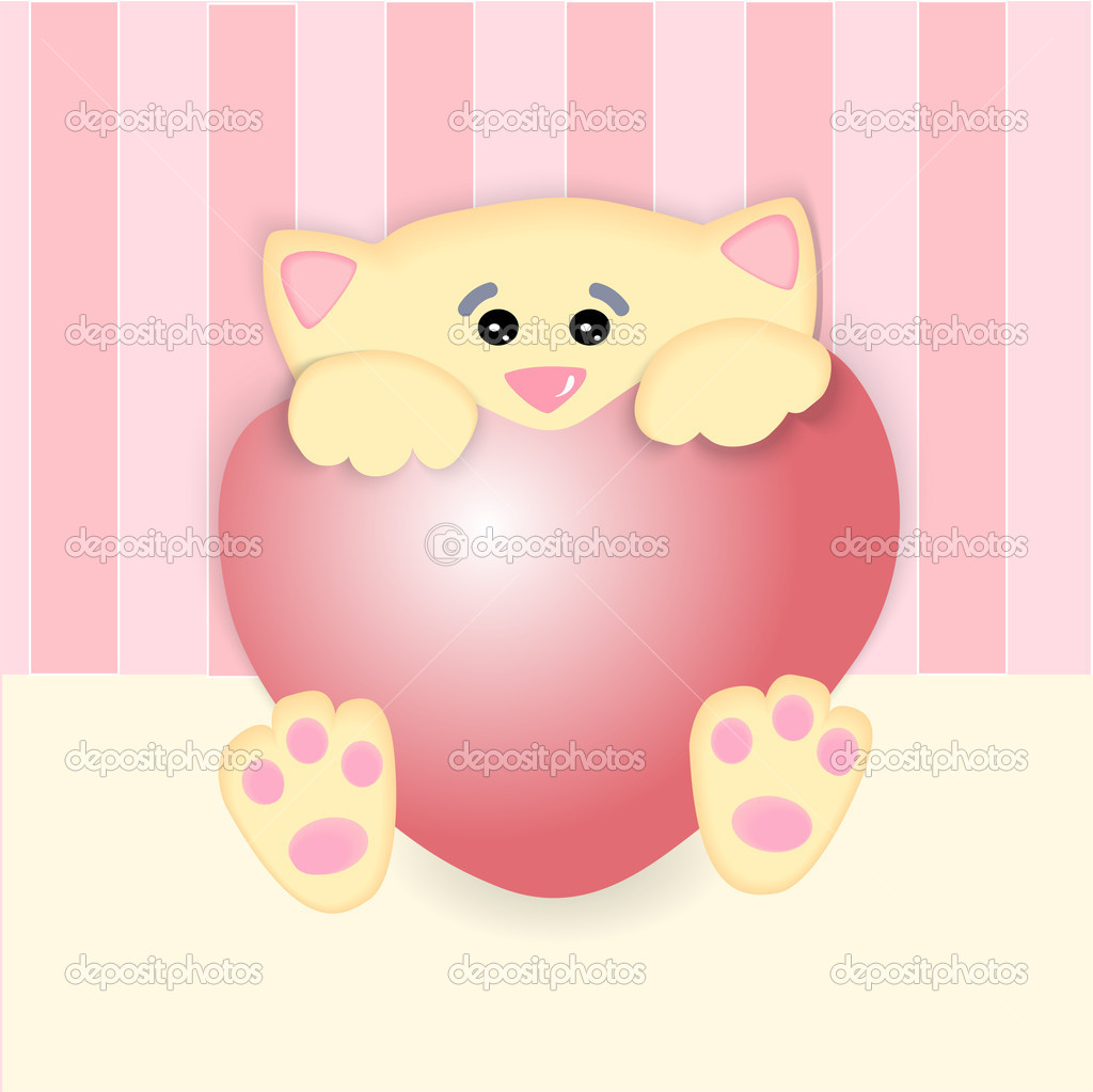 Vector illustration of a cat with big heart. stock vector