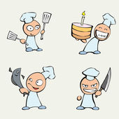 Collection of cute chef men.
