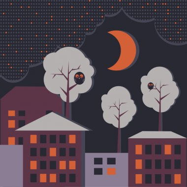 Vector background with houses at night time. stock vector