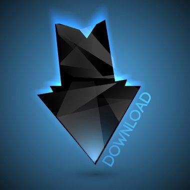 Vector black download arrow. stock vector