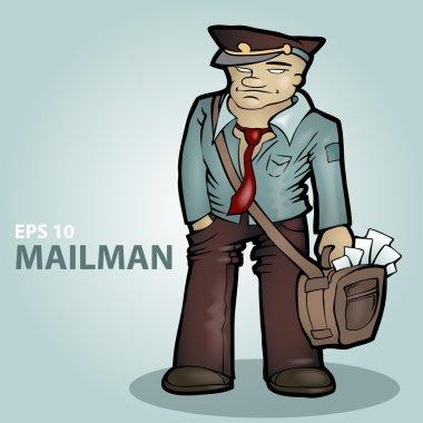 Vector cartoon mailman. Vector illustration. stock vector